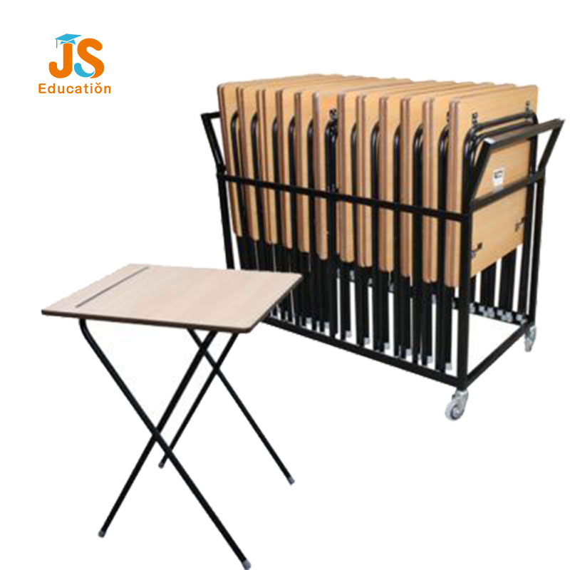 folding exam desk with moving cart